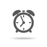 Grey alarm clock icon isolated
