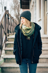 young beautiful hipster sporty blonde woman