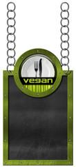 Vegan Menu - Empty Blackboard with Chain
