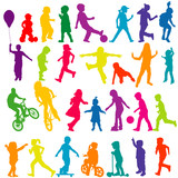 Fototapety Set of colored silhouettes of active children