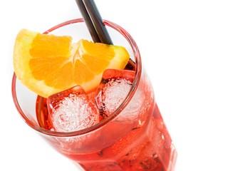 view of spritz aperitif aperol cocktail with orange slices