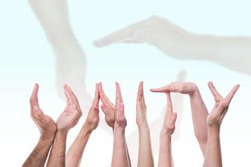 Das Wort unity aus Händen geformt