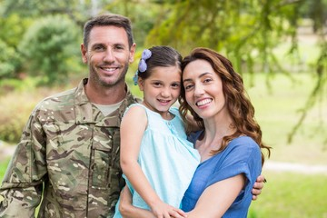 Handsome soldier reunited with family
