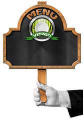 Vegan Menu - Blackboard with Hand of Waiter