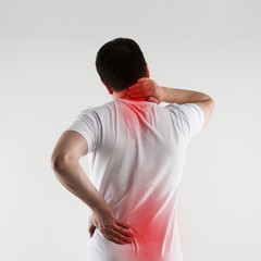 Scoliosis on man back. Backbone disease therapy and treatment