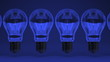 Some Electric Bulbs On Blue Background