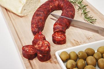 Chorizo on cutting board