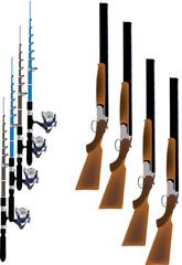 caccia e pesca fucili e canne