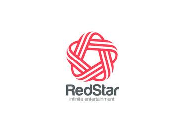 Infinity Loop Star Logo design vector template Line art style