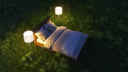 Bed in night field