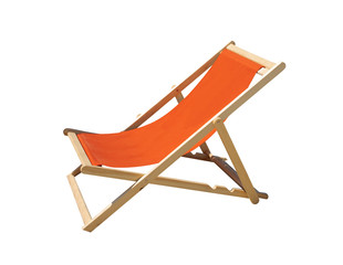 Orange lounge chair in wood and fabrics isolated.