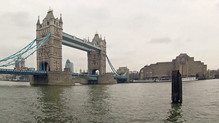 Timelapse video of Tower Bridge at cloudy day in London