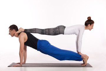 Yoga workout in couple