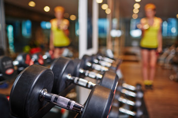 Barbells in sports club