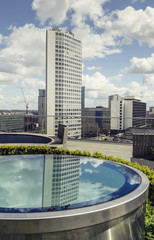 Rooftop of high-rise building in Birmingham, England