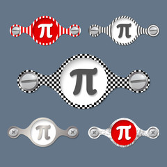 five abstract objects with pattern and pi symbol