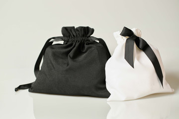 Black and white fabric bags