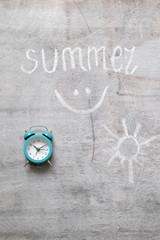 Text summer woodern alarm clock