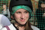 Teen in helmet