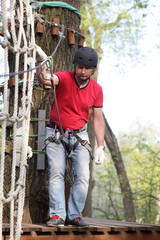 Man climbing the rope