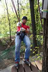 Man with climber equipment