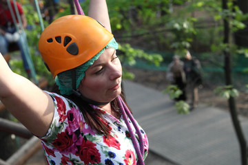 Woman climber resting