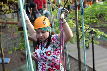 Woman climber training