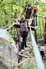 Woman in adventure park