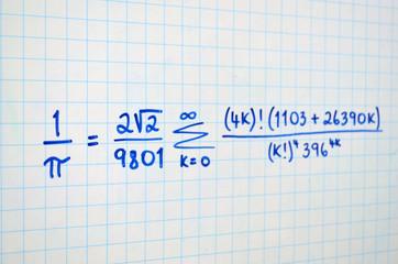 Mathematical Formula for Pi written on white board