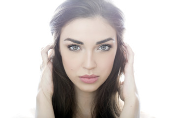 Beauty shot of a woman in light