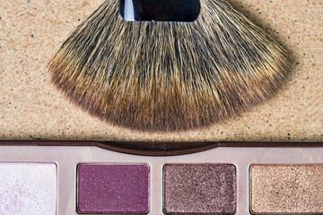 Makeup brush and eye shadows