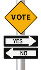 Modified road signs on election or referendum