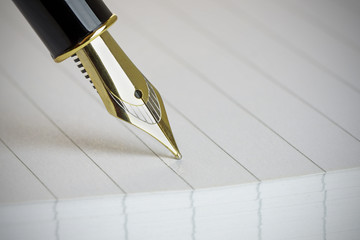 Close up of a Gold Fountain Pen Nib