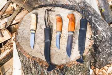 hunting knives on wooden stump