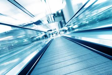fast motion of escalator