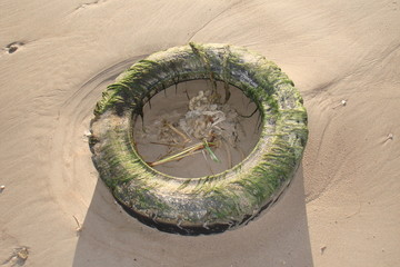 Old tire in beach sand