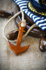 Decorative wooden ship anchored at the helm