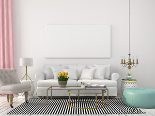 Light living room in white and pastel colors