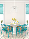 Fototapety Stylish dining room with blue furniture