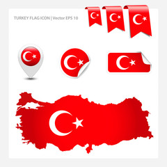 Turkey vector flags collection.