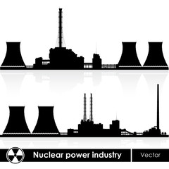 Nuclear power plants silhouettes isolated on white.