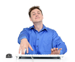 Funny programmer at work on white background