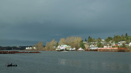 Tugboat and Clouds, Fraser River