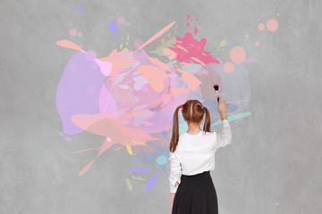 School girl drawning