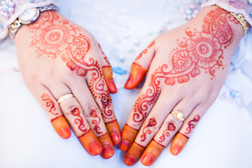 this photo show the red henna of bride
