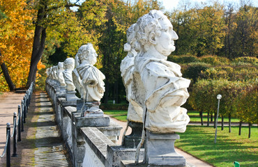 Statues in the autumn park