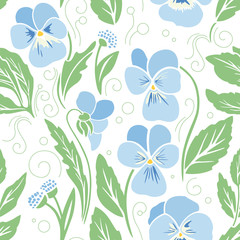 Violets, floral seamless pattern