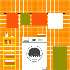 Orange laundry interior