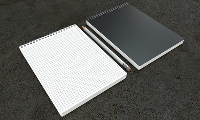 notebook mockups on concrete background