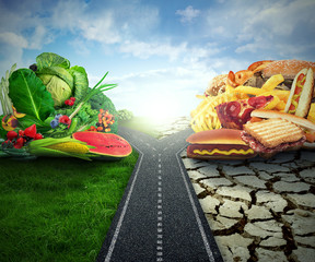 Diet concept nutrition dilemma healthy fruit or fast food